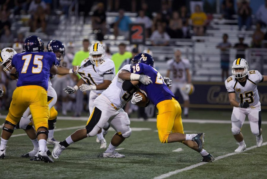 Last season highlights: (Top/L to R): OL Jesse Cerdas, OL Jared Smith and RB Isaac Seymour. The Kingsmen are looking forward to facing Willamette (Ore.) Sept. 17 at noon in William Rowland Stadium, after losing a close game to Pacific Lutheran University Sept. 10.  Photo by Matt McClenathen--Assistant Sports Information Director