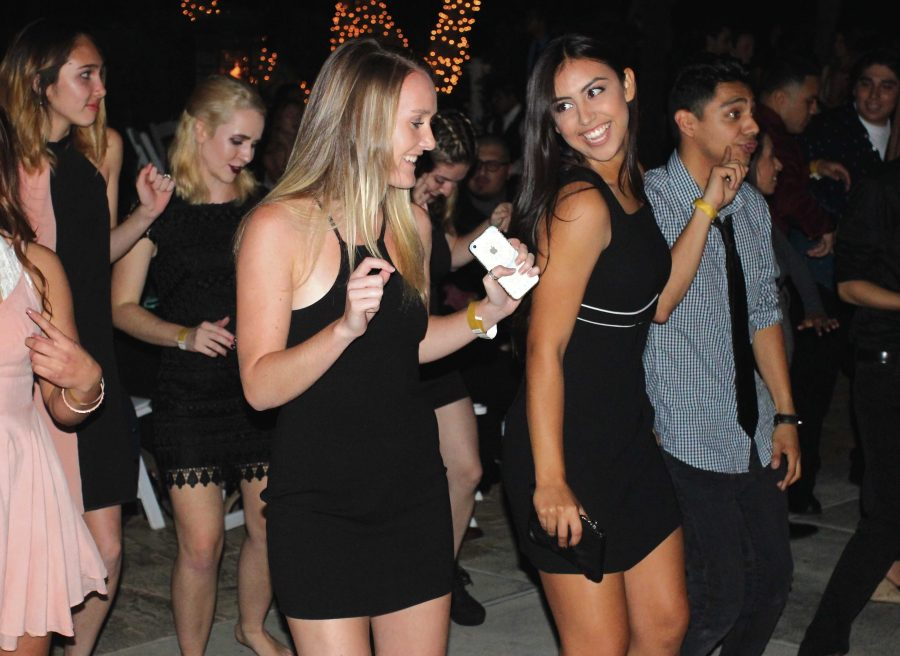 Gambling the night away: (Bottom) Students enjoy the DJ and dance outside at Monte Carlo.