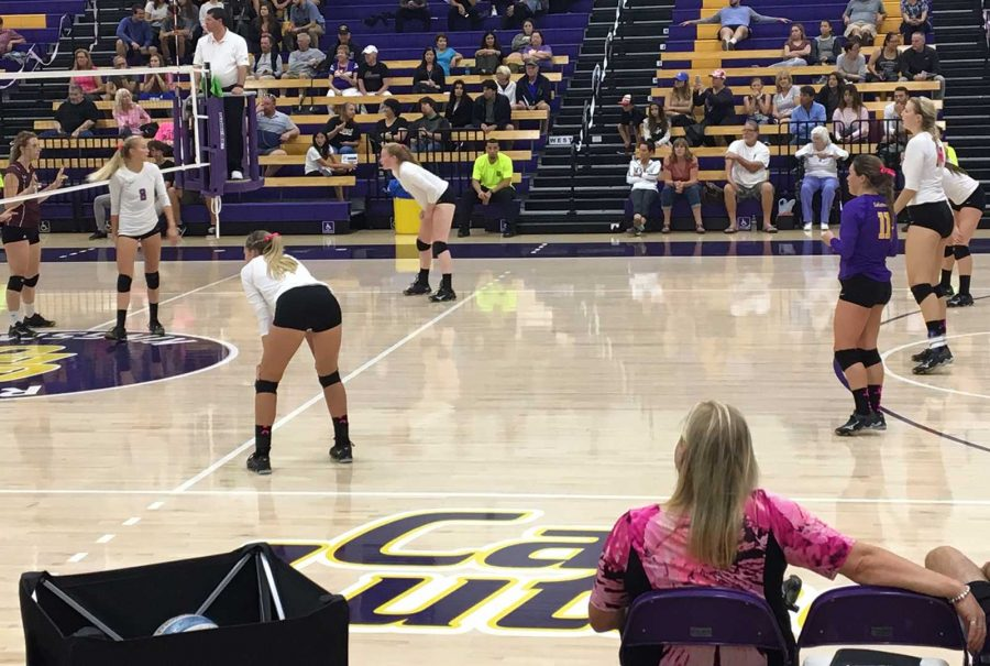 Looking on: Heach Coach Kellee Roesel looks on at her team as they set up for their next play. (Left-Right) No. 8 Jamie Smith, No. 10 Carly Rose Howard, No. 18 Molly Holloway, No. 11 Nicki Tetherow, No. 17 Michelle Lawrence and No. 4 Amanda Roberts.  Photo Credit--Makenna Pellerin Staff Photographer