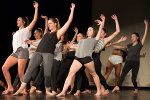 Countless hours in the studio: The Dance Team rehearses a contemporary group number for the Dance Showcase