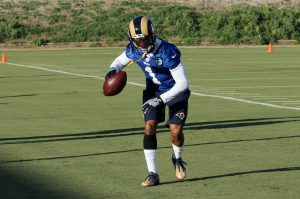Starting new: Tavon Austin, wide receiver and punt returner for the Los Angeles Rams, is very confident in the team's move to California. He believes the new/old fan base and change of scenery is something that will help propel the Rams into having future winning seasons. Austin said as long as his football team wins games he is happy, whether he contributed or not. Photo Credit--Jackie Rodriguez Photo Editor