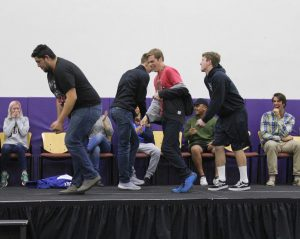 Students interaction: Hypnotised students preform the 'Single Ladies' dance number by Beyoncé during the David Hall Hypnotist show.