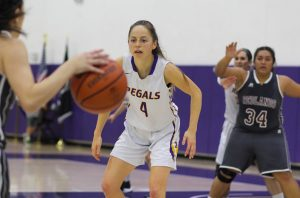 Leading the way: Regals senior guard Jessica Salottolo leads her team to a victorious season, currently sitting at a close second to Claremont-Mudd-Scripps in SCIAC. Photo by Tracy Olson--Sports Information Director