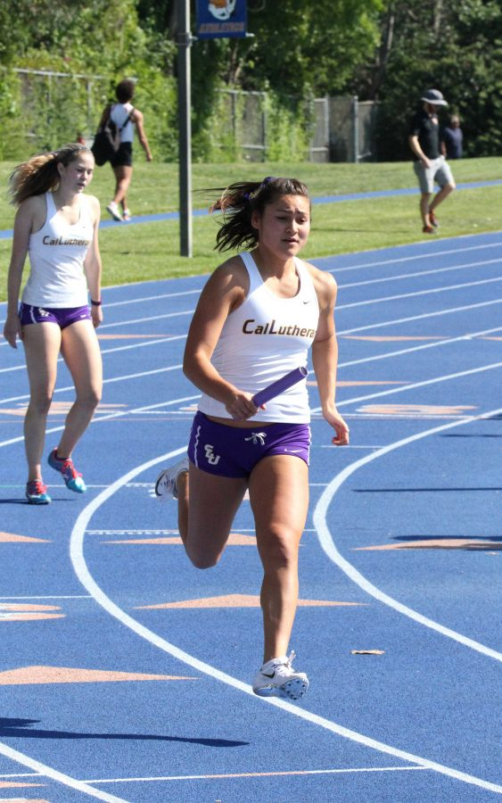 Passing by: Anna Schlosser looks forward to the opening meet of the 2017 season Feb. 25 at CMS.  Photo by Tracy Olson--Sports Information Director