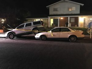 A parked Volvo XC 70 was pushed on top of a Buick Regal both belonging to residents on Faculty St.