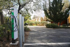 CLU's car charging stations are located directly behind Mt. Clef residence hall in the corner of the main parking lot on campus.