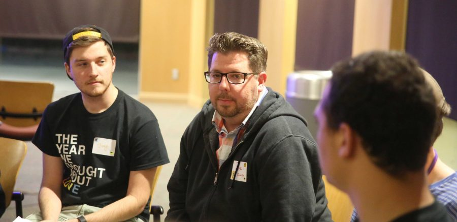 """Reflections: (Center) Dane Rowley, director of International Admissions at California Lutheran University, said the event """"gives a sense of hope and a sense of movement.""""  Photo by P.K. Duncan- Staff Photographer"""