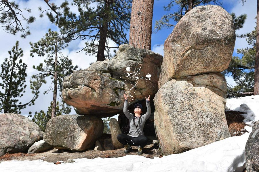 Asia Moore plays with the snow in Big Bear, California.  Photo Courtesy of Matthew Trujillo.