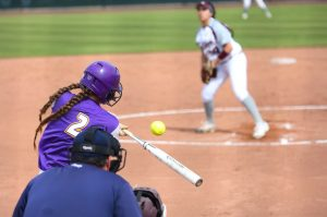 Junior short stop Antonia Rapisardi contributed to the Regals wins by producing three RBIs crucial to the winning outcome.  Photo by P.K. Duncan--Staff Photographer