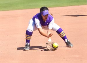 Looking forward: Junior third baseman Olivia Leyva went 4-11 hitting .363, with three runs and two RBIs over the four weekend games. Photo by P.K. Dunca--Staff Photographer