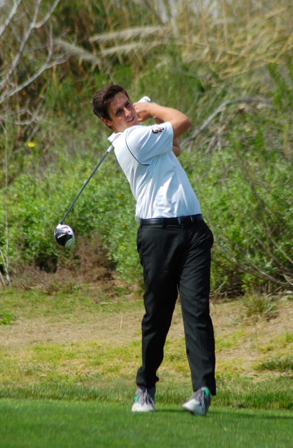 Zane Jarrett hits a drive for the Kingsmen  Photo by Tracy Olson- Sports Information Director