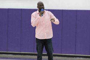 "Former Harlem Globetrotter, Kevin Daley ""Special K"", visits the California Lutheran University campus to give a motivational speech. Photo by Jacqueline Rodriguez - Photo Editor"