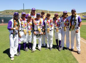 (Left to Right) Seniors Trey Saito, Brad Fullerton, Sinjin Todd, Marshall Pautsch, Eddie Villegas, Nick Cohan, Jimmy Jauregui, Austin Kay, Miguel Salud and Gabe Gunter celebrated their Senior Day with two wins to clinch the series against CMS and the SCIAC Championship Title for the fifth consecutive time. Photo Credit Tracy Olson--Sports Information Director