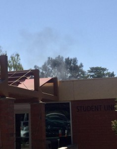 Smoke rises outside the Student Union building. Photos by Jackie Rodriguez - Photo Editor