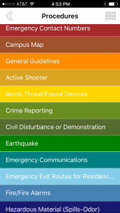 Emergency preparedness: The new app has information on various emergency procedures, including a guide on how to handle an active shooter. Screen shot by Dakota Allen - News Editor