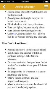 One section of the app explains how to respond to an active shooter situation. Screen shots by Dakota Allen - News Editor