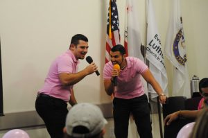 Thinking pink: Senior Resident Assistant Daniel Chavez and RA Dylan Mukhar host the Think Pink Fashion Show put on by Trinity Hall staff. Photo by Arianna Macaluso- Photojournalist