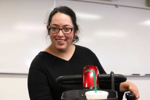 Addressing Fears: Senior Miranda Casanova-MacDonald is a public speaker who helps others learn how to confidently speak to people with disabilities.  Photo by Inga Parkel- Photojournalist