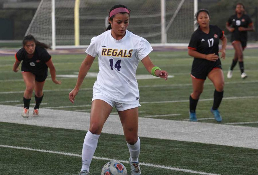 Freshman forward Sam Cornejo scored twice in Thursday night's game. The Regals received a bid to the NCAA tournament on Monday and will host UC Santa Cruz on Saturday where Cornejo will look to continue her goal-scoring form. Photo by Danielle Roumbos- Sports Information Photographer