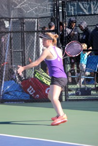 Junior Christie Kurdys competed in both singles and doubles on Saturday. She will look to improve her record in her next competition against the University of California at Santa Cruz. Photo by Rachel Holroyd