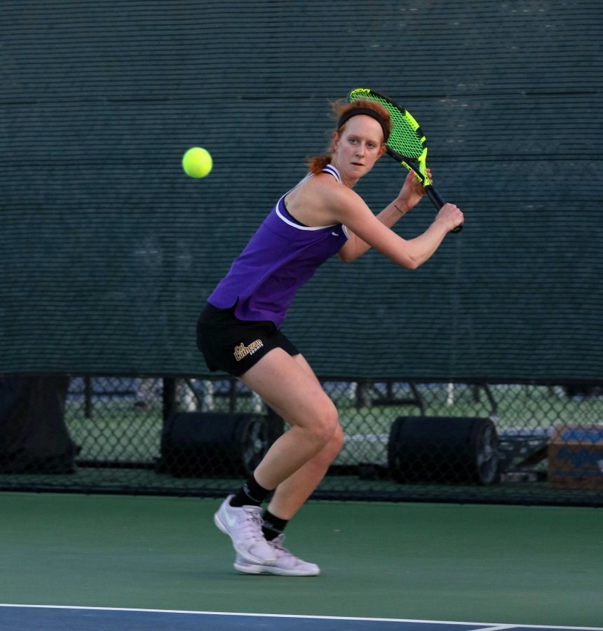 Junior Sarah Seeman picked up her fourth consecutive win on Saturday. She will look to continue this streak Friday, March 25 when the Regals take on Wellesley College. Photo by Inga Parkel- Photojournalist
