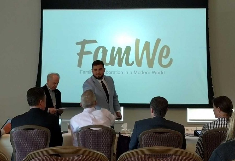 "Get money, get paid: Senior Evan Brandt presents his business plan for his app ""FamWe"" at the Values and Ventures Business Plan Competition at Texas Christian University this past weekend. Photo provided by Molly Strawn"