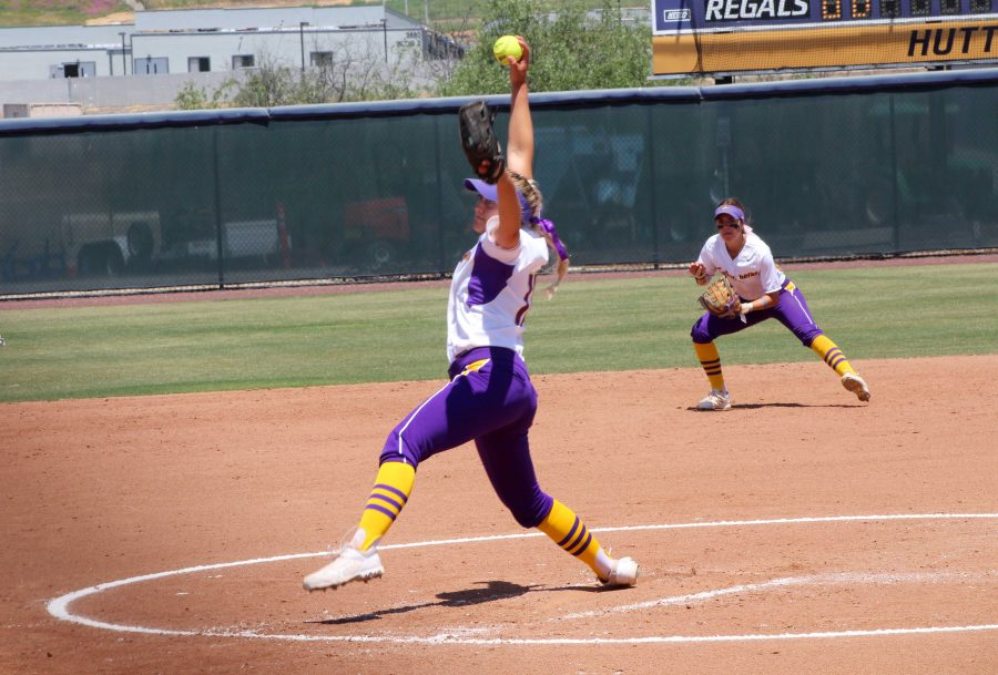 Sophomore Brittany Workman was impressive as a pitcher and a hitter on Saturday. She tossed  seven innings and only gave up one run in game one. She added a hit and an RBI in game two. Photo by Saoud Albuanain- Photojournalist