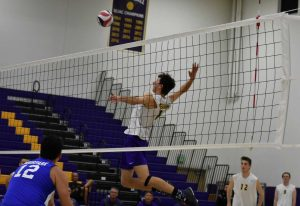 Sophomore Justin Dietrich had six kills and hit for .566 in his last game against Moorpark College.    Photo by Aliyah Navarro- Photojournalist