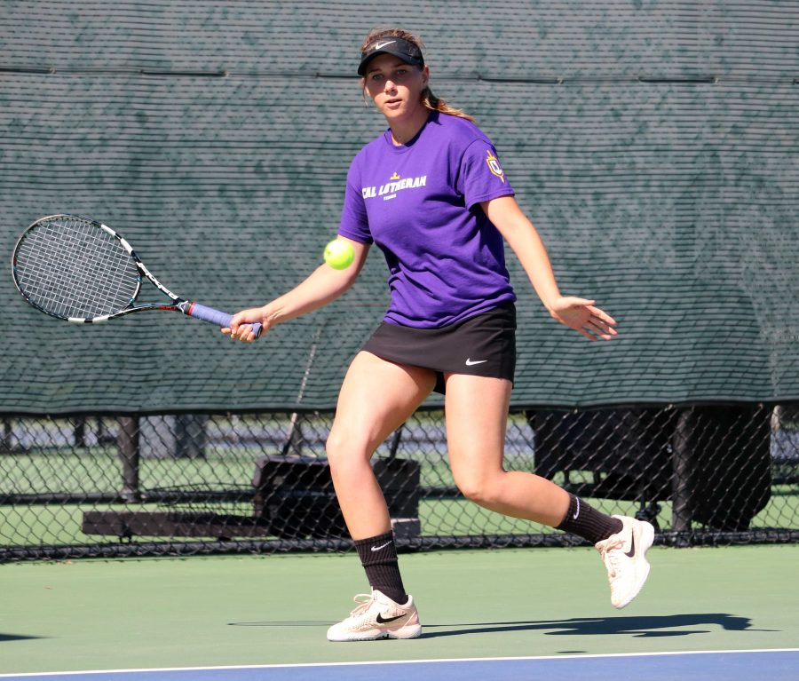 Senior Nicole Neumann racked up a singles win on Saturday over Occidental College. Photo by Inga Parkel- Photojournalist