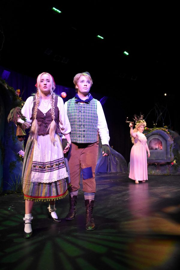 """Chasing carbs: Brooke St. Johns (Gretel) and Anika Valdez (Hansel) in the production of """"Hansel and Gretel"""" by California Lutheran University's Creative Arts Division. Photo by Aliyah Navarro- Photojournalist"""