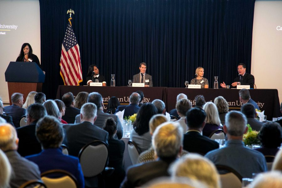 Accuracy and authenticity: Local media professionals gather at the Ronald Reagan Presidential Library Sept. 14 to discuss issues facing the media at a local, national and international level. Provided by Brian Stethem - University Photographer