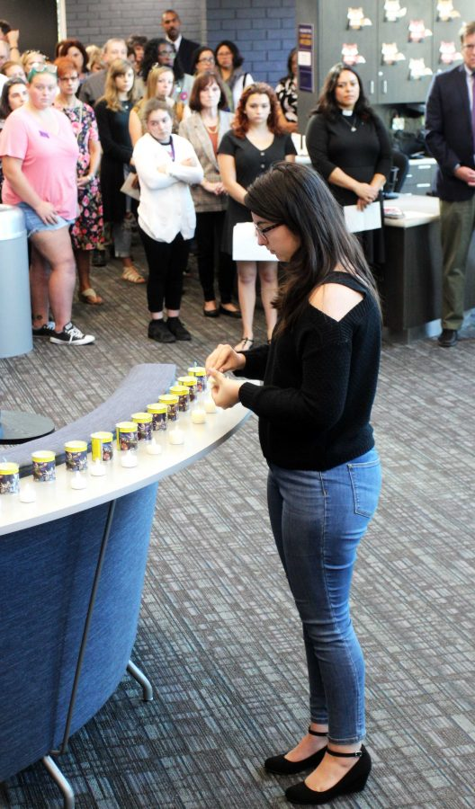 Standing in solidarity: Members of the Hillel Club lit one candle for every victim of the Oct. 27 mass shooting at Tree of Life synagogue. Photo by Olivia Schouten - News Editor