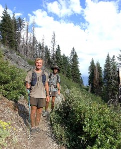 Timmy on the trail: Timmy Kahovec (left) and friend Zach Wims (right) completed a 1,000 mile section of the Pacific Crest Trail between California Oregon and Washington in 34 days.  Photo courtesy of Timmy Kahovec.