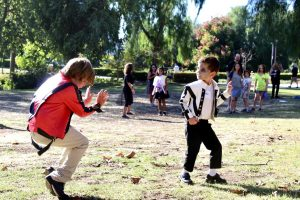 "Judah (left) and Jaxon (right)   danced side by side to Michael Jackson's ""Billie Jean"" following the group zombie dance to ""Thriller."" Photo by Christie Kurdys - Photojournalist"