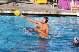 First-year utility player Dillon Goldsmith tallied four shots, two goals and seven drawn ejections in the 13-11 match against La Verne on Wednesday, Oct. 24. Photo by Arianna Macaluso - Photo Editor