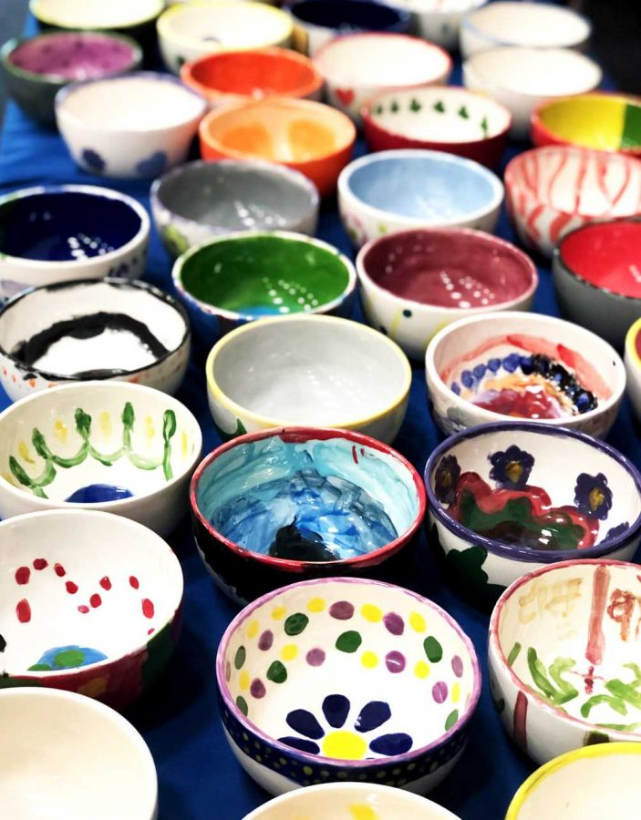 Every ceramic bowl at the Bowls of Hope event was hand-painted by a Ventura County community member. Photo by Rose Riehl - Reporter