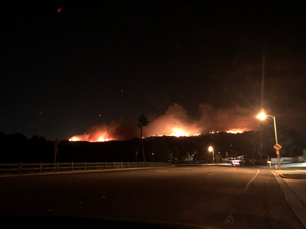 The view of Woolsey fire burning on a ridge from Ventura County Fire Department Station 44. Taken Nov. 9 at 11:21 p.m.  Photo by Brooke Stanley - Sports Editor