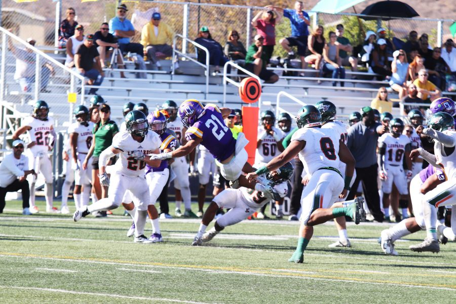 Senior running back Kayden Clements rushed 18 yards during the 26-20 loss against the University of La Verne. Clements averaged 21.6 yards per game for the season and was among the 21 players recognized during the Nov. 3 senior game.  Photo by Arianna Macaluso - Photo Editor