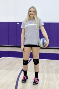 First-year middle blocker Maci Haddad ditched playing softball in eighth grade to play volleyball. She now competes as a Regal and has earned all-SCIAC First Team Honors in her first year playing intercollegiate volleyball. Photo by Christie Kurdys - Photojournalist