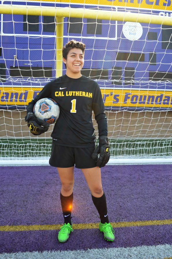 Sophomore goalkeeper Gabby Flores is tied for fourth in the Cal Lutheran record books for solo shutouts, just two shutouts behind the 2012 record set by her goalkeeper coach, Kiki Bailey.  Photo by Sarah Harber -Photojournalist