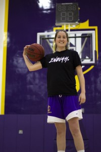 Senior captain Grace Derksen played all four seasons with the Regals as a guard. She led the team in free-throw percentage at 85 percent her sophomore year and had a season high of 17 points in way game her junior year. (Photo by Gabby Flores - Photojournalist)