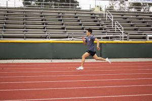 First-year long and triple jumper Brandon Carbullido trains for his first track and field season at Cal Lutheran.  (Photo by Jessica Colby - Photojournalist)