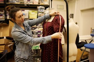 "Designing costumes from Cal Luthern to  London: ""I am telling a story through the directors and producers vision, creating a person with the way they look, describing someone without them saying anything,"" said Noelle Raffy, a theatre arts assistant professor. Photo by Jessica Colby- photojournalist"
