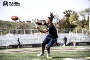 NFL draft prospect Anthony Ratliff-Williams makes a catch during a Mamba Sports Academy training session in William Rolland Stadium. The wide-receiver forgoed his senior year at the University of North Carolina to declare for the 2019 draft.  (Photo courtesy of  the Mamba Sports Academy Twitter @MambaSportsHQ )