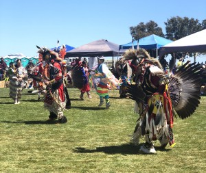 "Keeping traditions alive: Members of various tribes participated in indigenous dances, songs and crafts at the Chumash Day Powwow and Intertribal Day Gathering. ""I think it's important to know where we come from,"" said Linda Gutierrez, who attended the powwow.  Photo by Maria Barragan- Reporter."