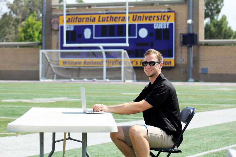 Two Cal Lutheran seniors are starting the Sports Management club, an opportunity to network with other students interested in careers in sports-related fields.  Pictured: In 2019 Jeff Rebello came full circle, returning to Cal Lutheran as the assistant sports information director.