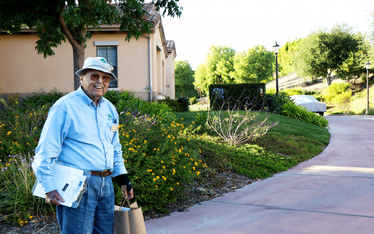 Chuck Mortensen, 95, gives a tour of University Village, a retirement community which is located across the street from California Lutheran University. Mortensen said he celebrated his 95th birthday on Saturday, Oct. 19.