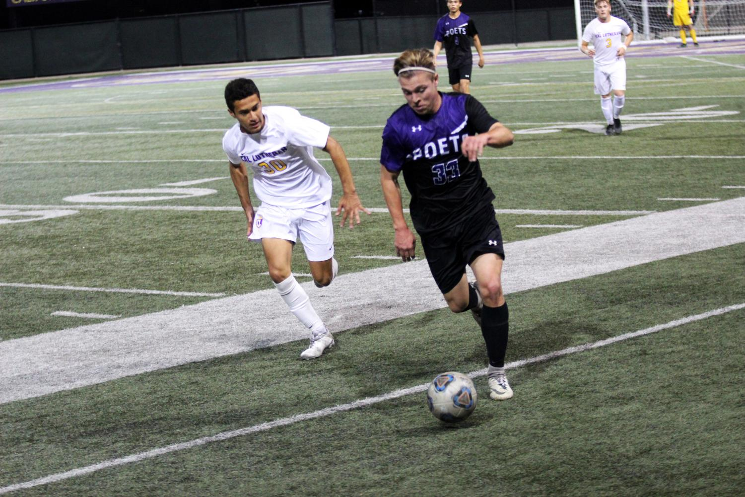 First-year midfielder Brandon Chavez chased down a Whittier forward during the game on Saturday, Oct. 26.