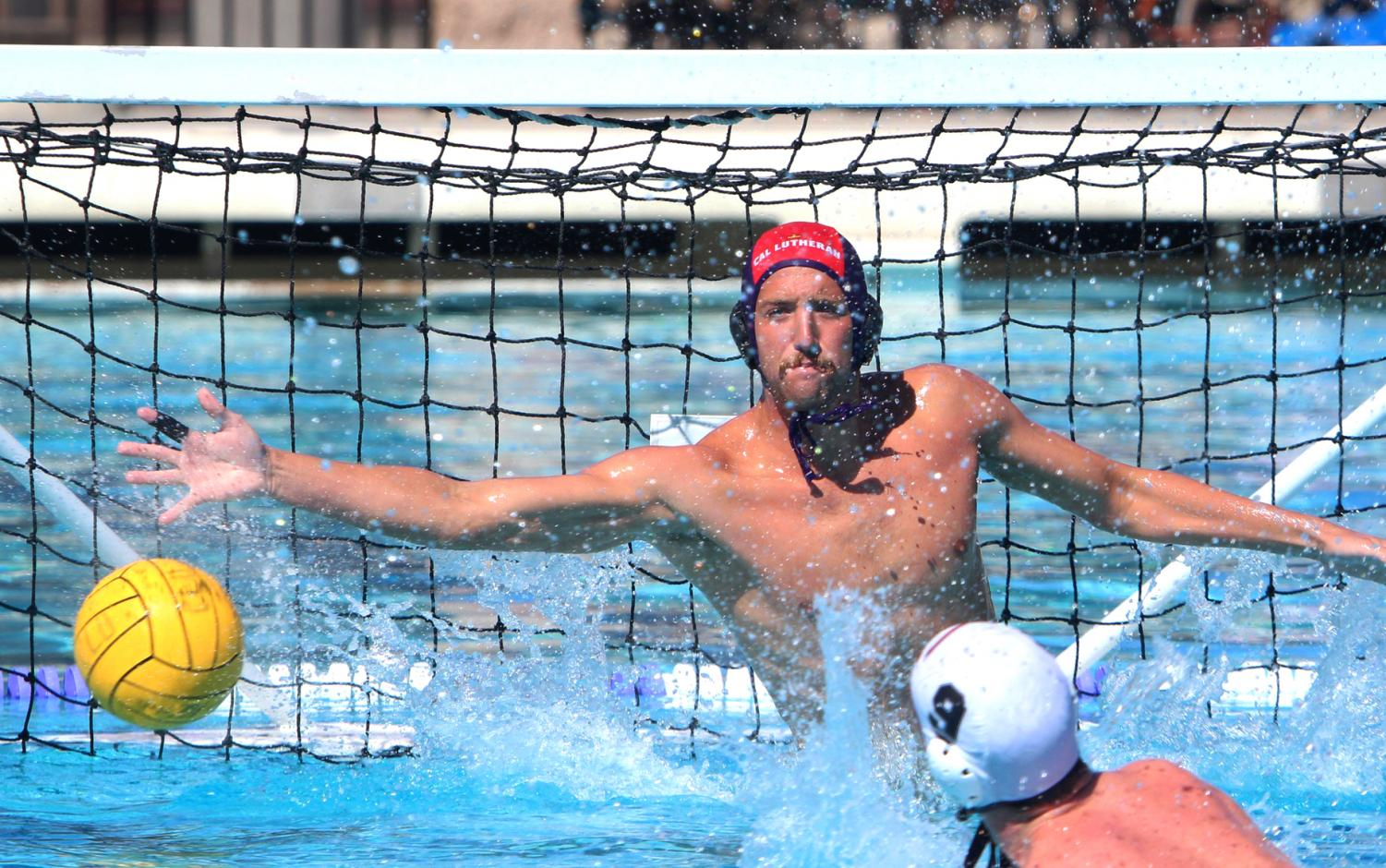 Junior goalkeeper Andre Rivas blocks the Whittier Poets from adding to the score on Saturday, Oct. 26.
