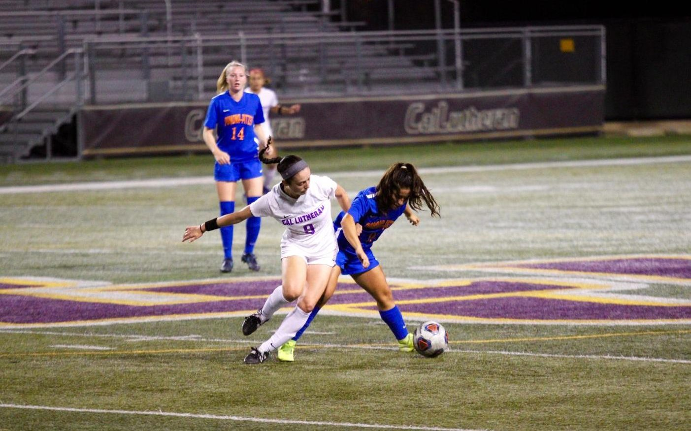 First-year forward Mandy Crawford goes after the ball against Pomona-Pitzer on Wednesday, Oct. 16.